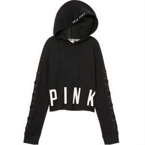 VS PINK Cropped Lace Up Sleeve Hoodie Black